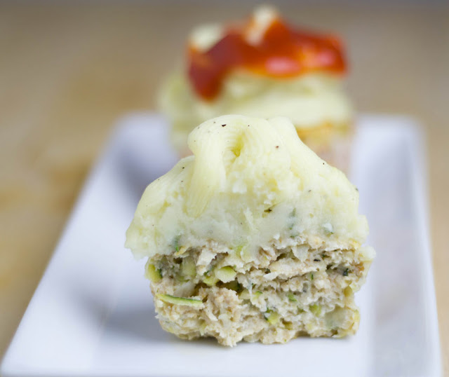 Turkey Zucchini cupcakes with mashed potatoes frosting